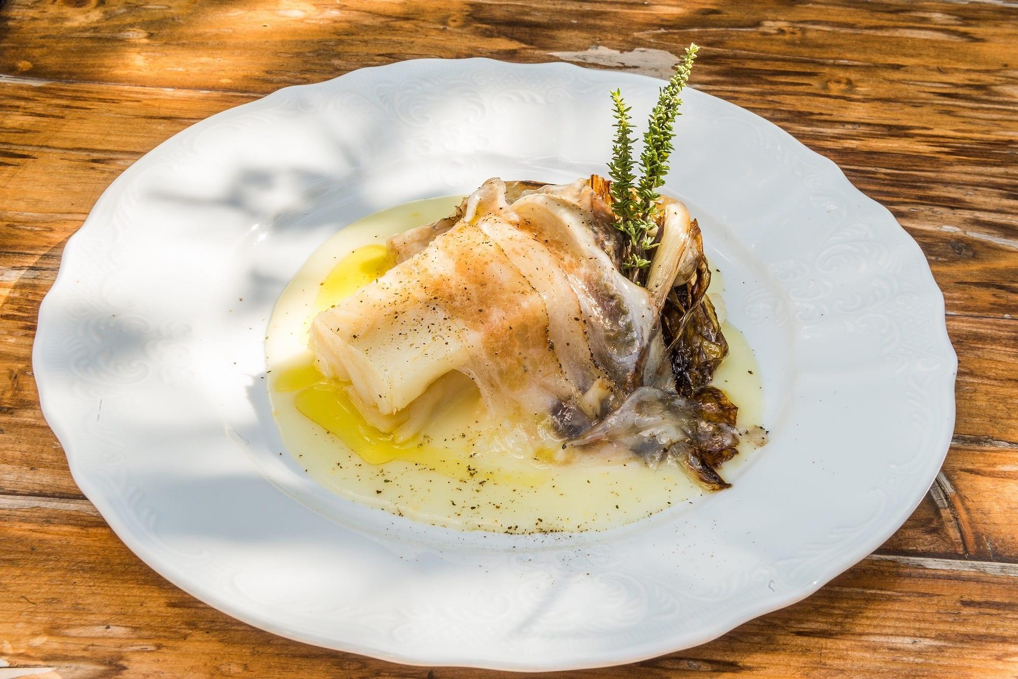 Crema di patate al limone Stoccafisso Norvegese radicchio confit e guanciale di mora romagnola_diego rossi chef