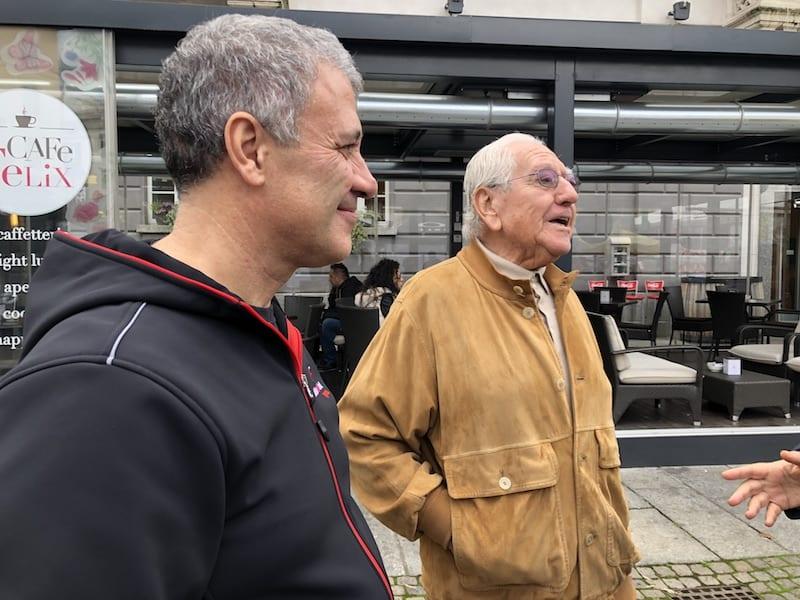 Claudio Palladi (a sinistra) con Emilio Rigamonti, uno dei fondatori della storica azienda valtellinese specializzata nella produzione di bresaola