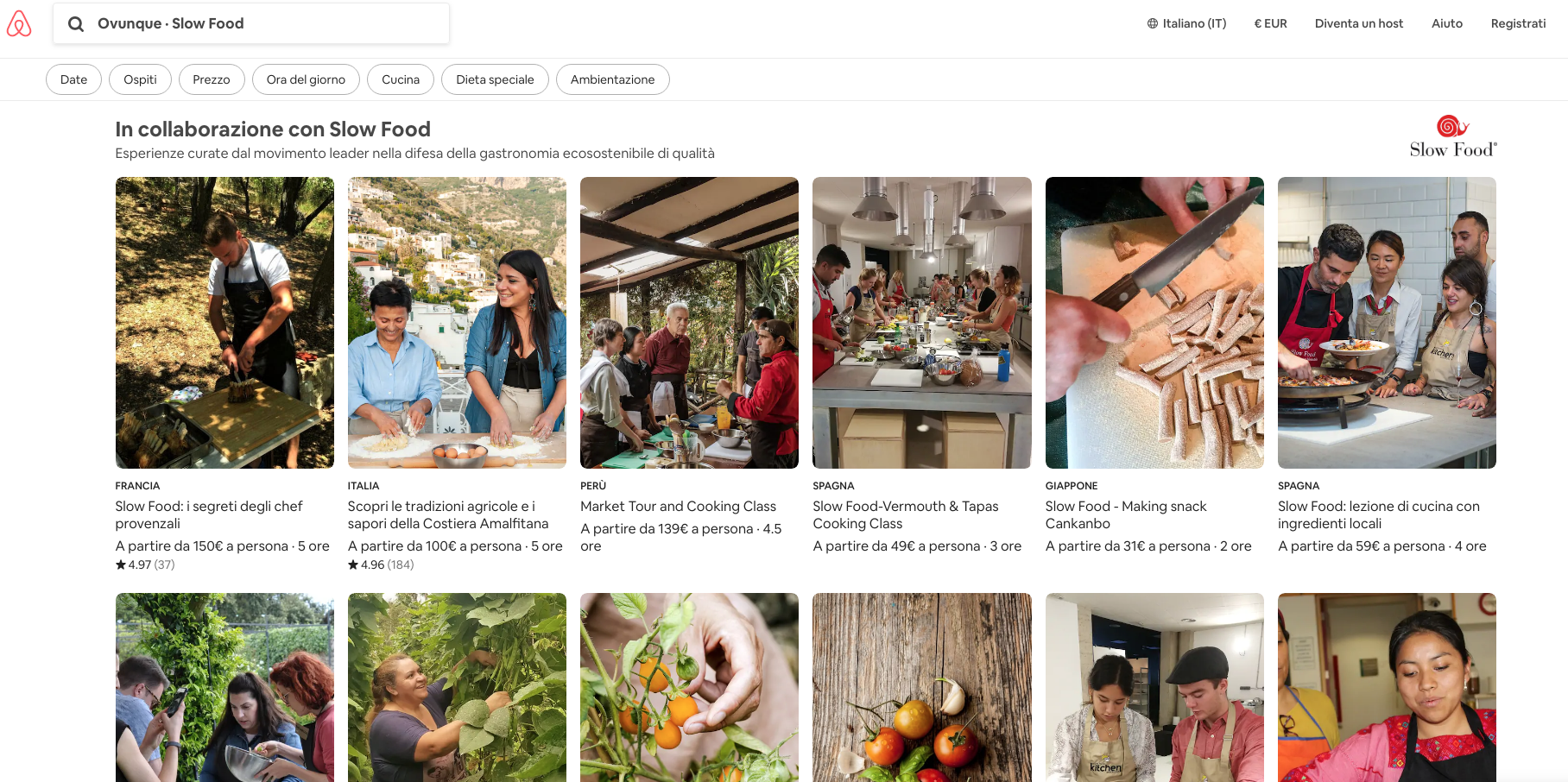 esperienze slowfood su airbnb