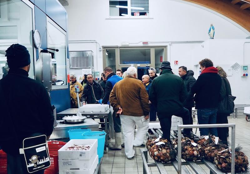 Nel mercato ittico comunale di Caorle, durante un'asta silenziosa
